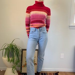 Vintage 90s Ribbed Stripe Red Long Turtleneck Top